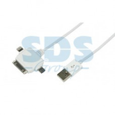 USB кабель 3 в 1 для iPhone 5/microUSB/iPhone 4 шнур 1М белый